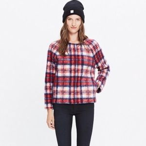 Madewell pullover plaid sweater with pockets